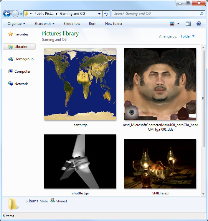 Screenshot: Computer graphics industry formats such as EXR, DDS, TGA and more