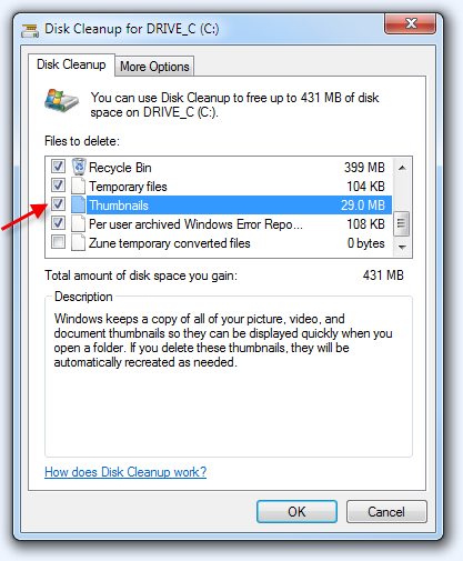 The Windows Disk Cleanup utility