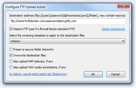 FPV Configure FTP Upload Action