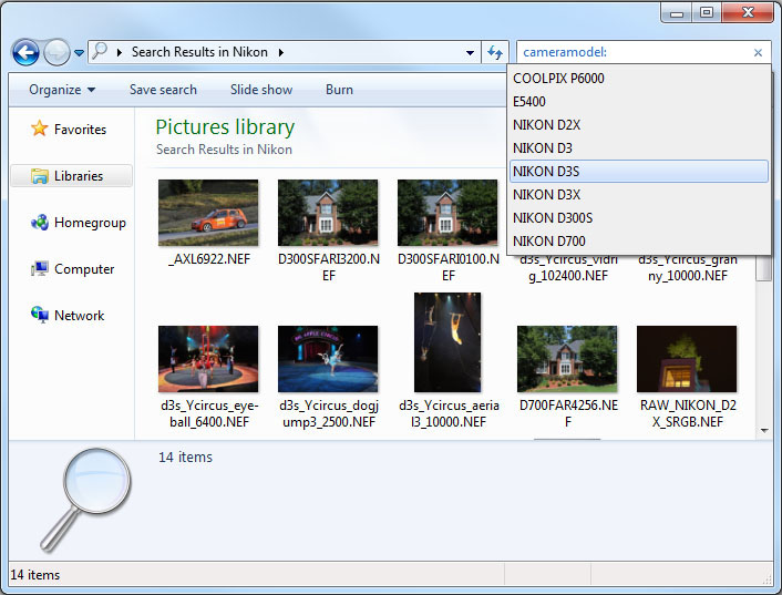 Screenshot: Windows 7 metadata search integration.
