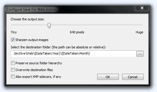 Save for Web Action Editor