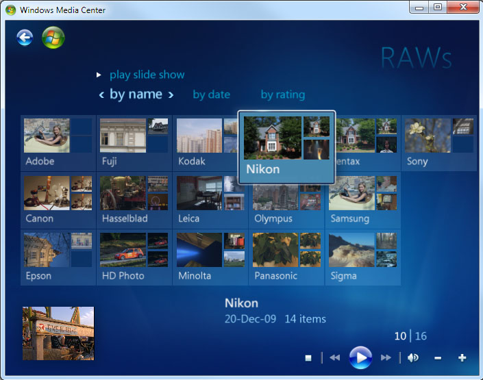 Screenshot: Windows 7 Media Center displays raw images and slideshows!