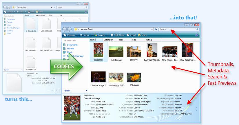 FPV Codec Pack: 64 bit CR2 codec and 64 bit NEF codec in Windows Explorer