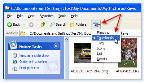 Viewing thumbs in windows photo gallery