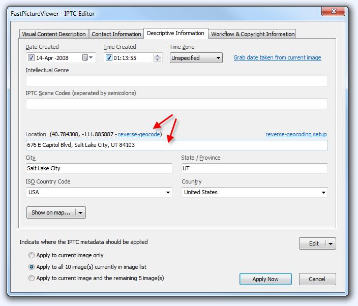 IPTC Editor Reverse-Geocoding