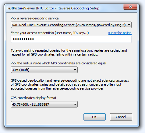 FastPictureViewer Professional's Reverse-Geocoding Setup Window
